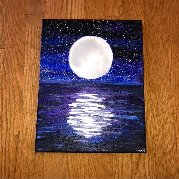 Moon Reflection On Water Painting
